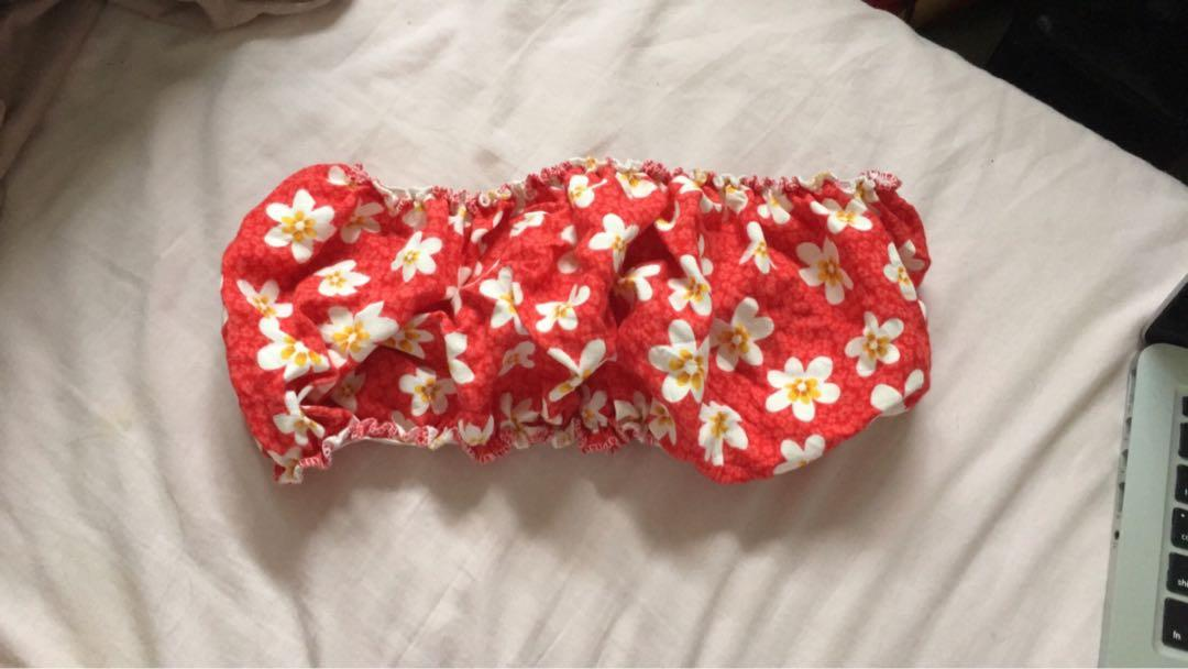 Herpony Handmade Red Tropical Floral Bandeau Top (BRAND NEW)
