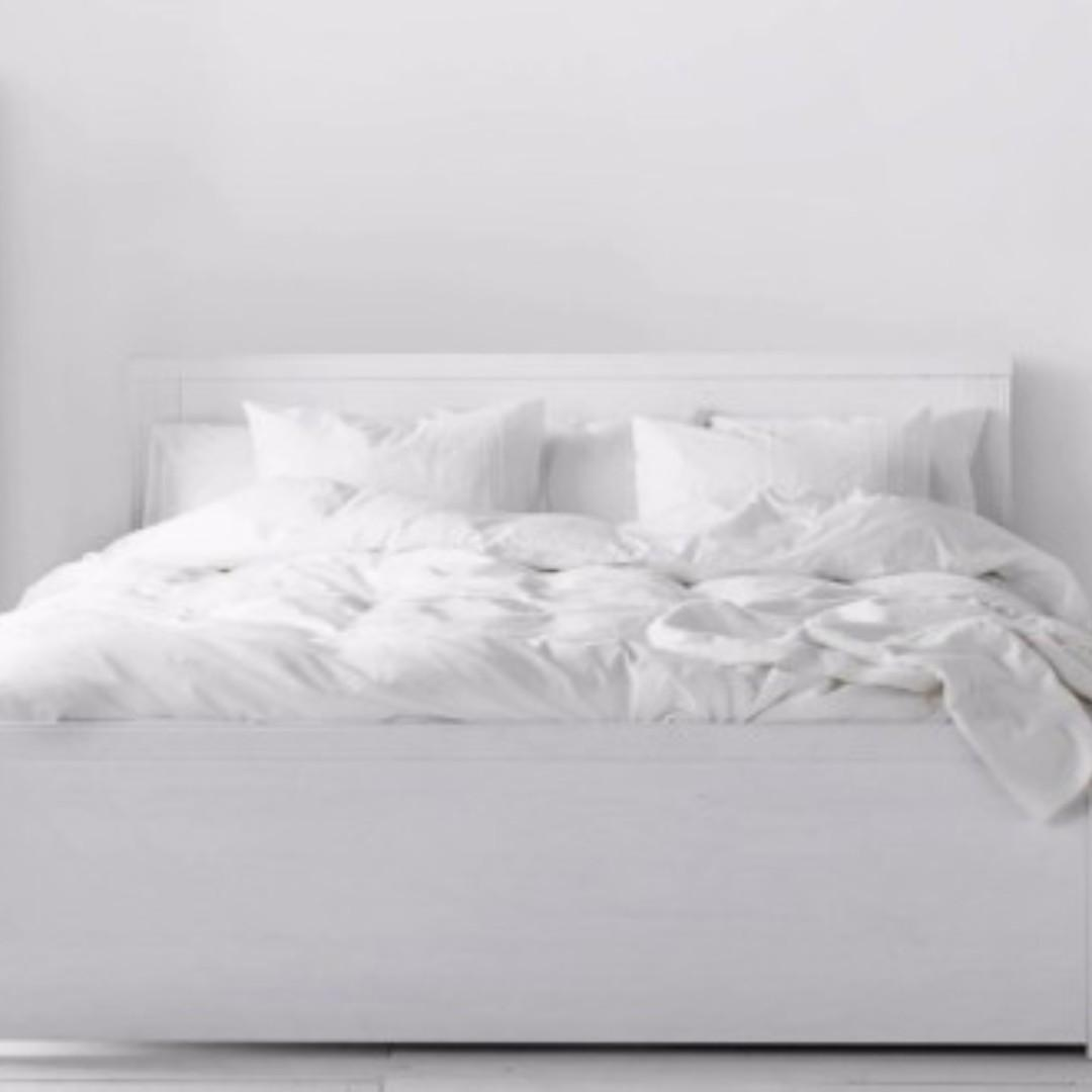 Picture of: Ikea White Brusali Queen Bedframe Furniture Beds Mattresses On Carousell