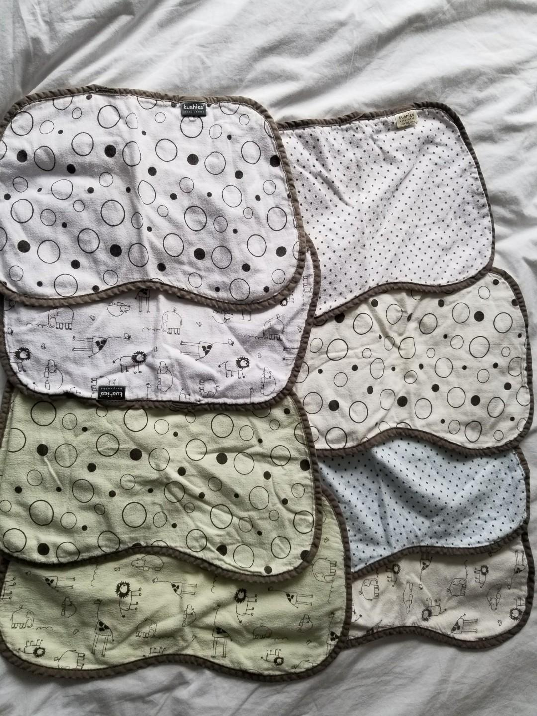 Kushies burp pads Extra soft organic cotton Gerrard and Main or yorkville  EUC retails for $9.99 each Take all 8 for $20 or $4 each Or $22 for Yorkville