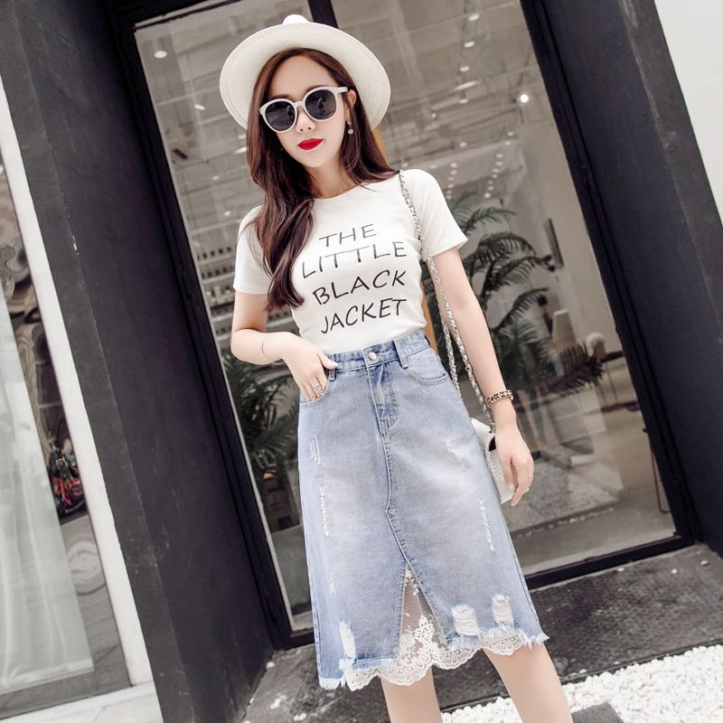4f36bfc1fd Light Blue Coloured With Floral Lace Trim Ripped Denim Skirt ...