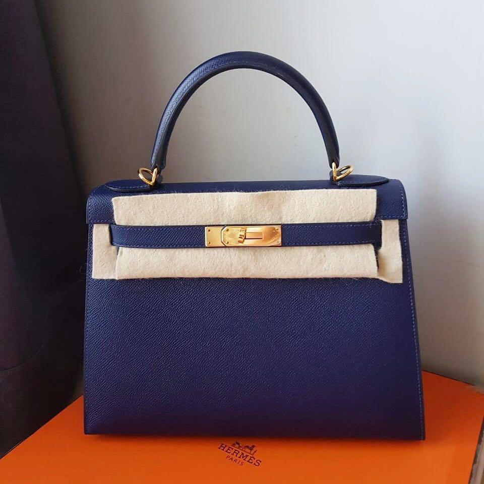 46ad365ced Like New Hermes Kelly 28 Sellier Blue Sapphire Epsom Ghw T stamp ...