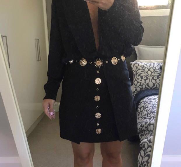 Missguided Peace & Love Gold Versace Style High Waisted Party Skirt Celebrity Blogger UK 10