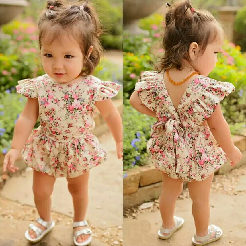 ef4443b0a5 Newborn Infant Kids Baby Girls Floral Romper Jumpsuit Outfit ...