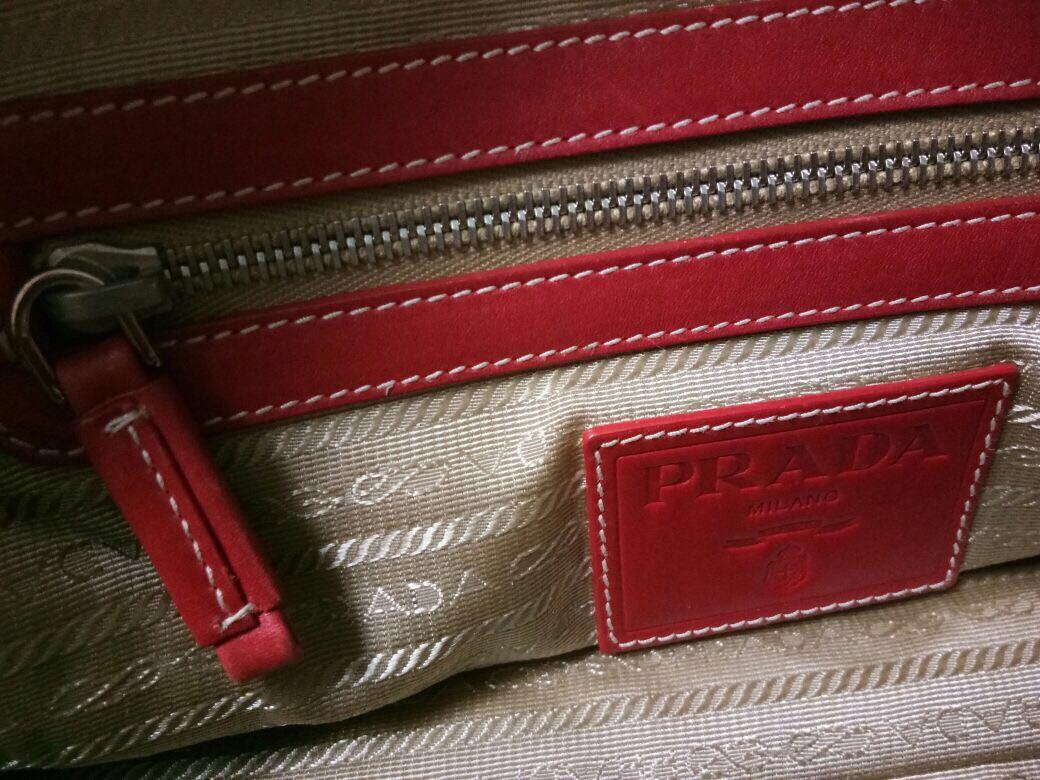 Prada Red Logo Jacquard
