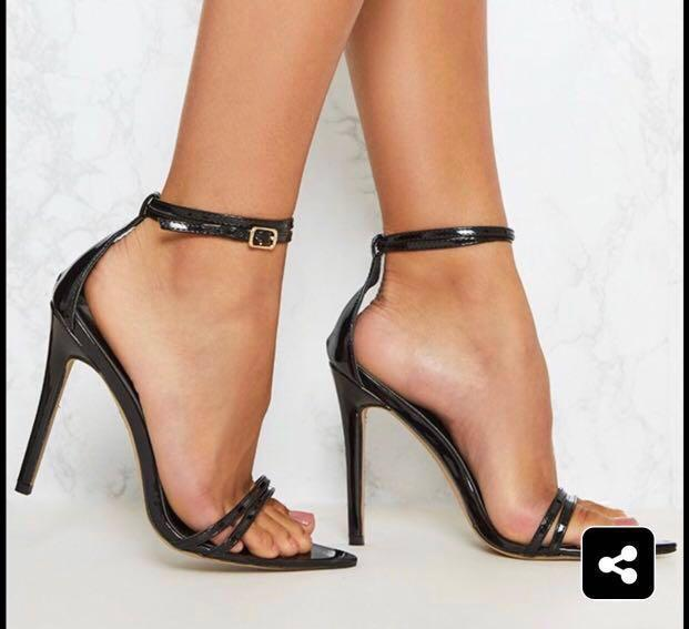 Pretty Little Thing PLT Kardashian Pointed Toe Barely There Ankle Strap Stiletto Heels Celebrity Blogger UK 4