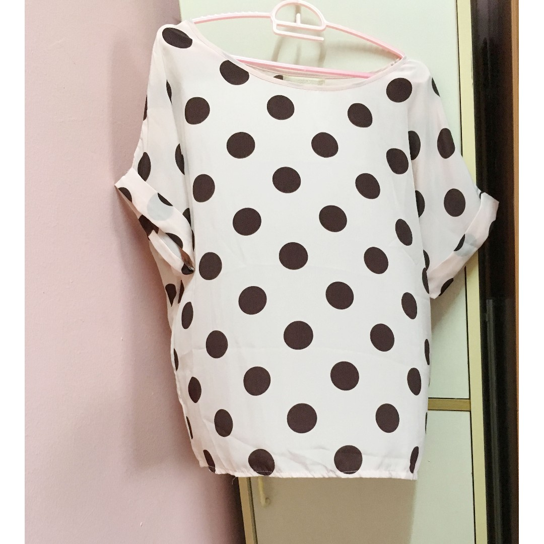 2f35d0956c3e4 [Free Shipping] Retro Pink Polka Dot Short Sleeve Satin Blouse | Top | Shirt