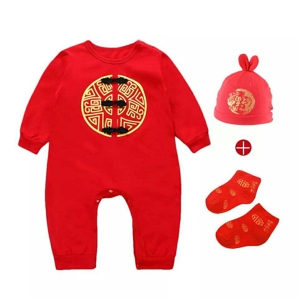 e5e369f96 Set Baby rompers baby girl boy clothes Chinese new year clothes ...