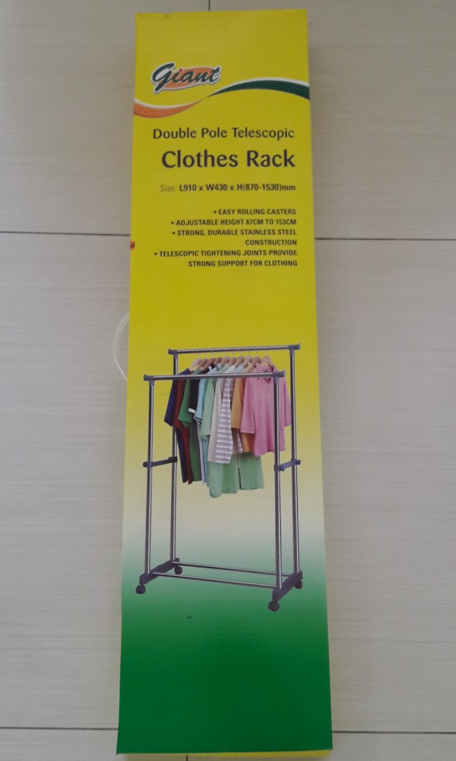 6637a754a Sturdy Double Pole Clothes Rack, Everything Else on Carousell