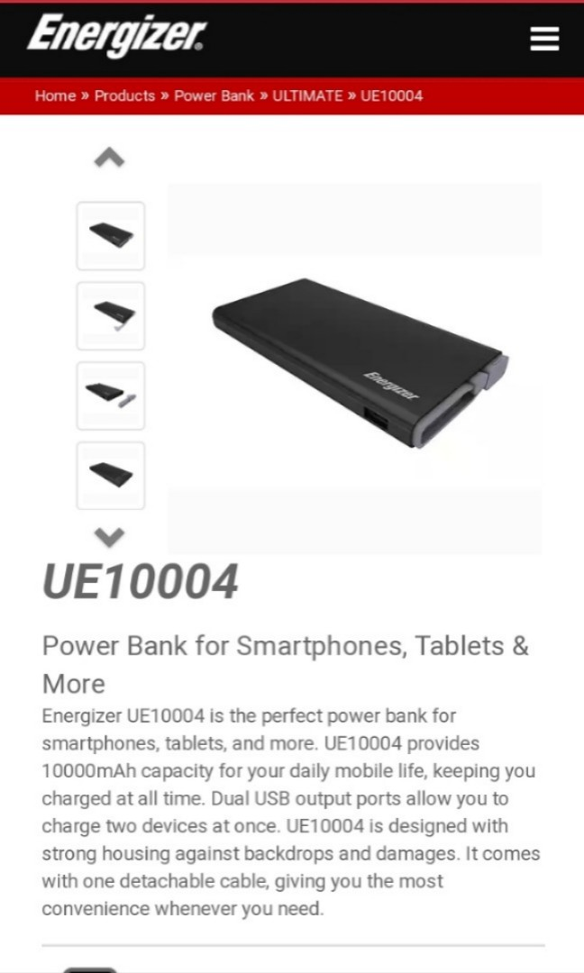 USED Energizer powerbank 10k 2 1A fast charge USED