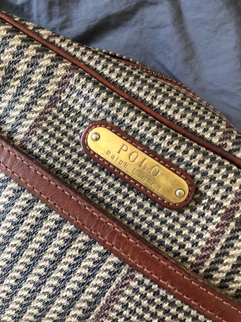Vintage ralph lauren plaid houndstooth leather crossbody bag