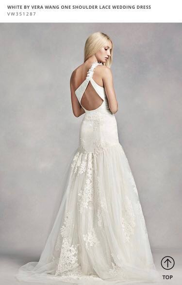 9bc9859920a WHITE BY VERA WANG ONE SHOULDER LACE WEDDING DRESS