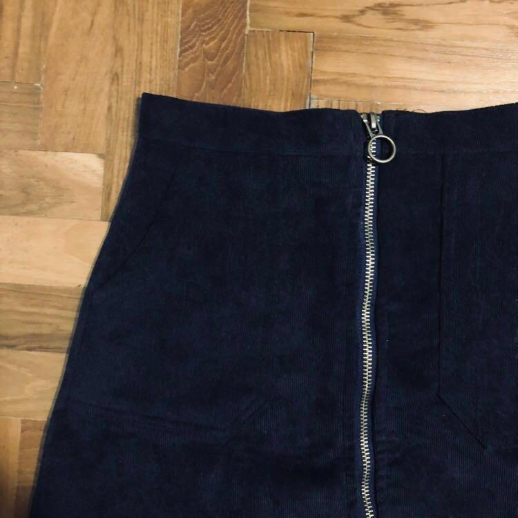 white square halter & navy a line skirt