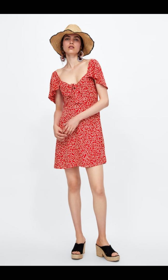 97dc795d8 Zara Floral Print Dress with Bow