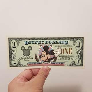 *停產絕版* 美國迪士尼鈔票 Disney Dollars