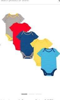 英國有機棉嬰兒夾衣 (Set of 5) John Lewis Organic Cotton Bodysuit