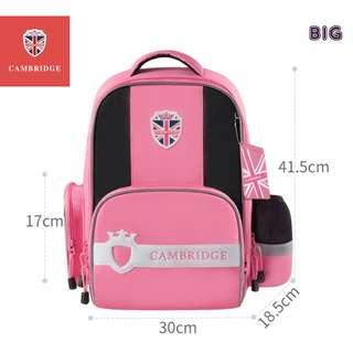 🚚 Cambridge School bag Korea style Primary 1 to Primary 6 Air-Cell Spinal Protection Night Reflective Waterproof backpack for Girls and Boys - Pink (Big)