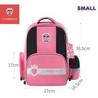 🚚 Cambridge School bag Korea style Primary 1 to Primary 6 Air-Cell Spinal Protection Night Reflective Waterproof backpack for Girls and Boys - Pink (Small)