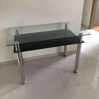 Glass Dinning Table Double Layers Storage