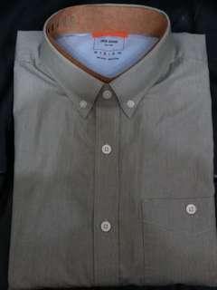 Jack Spade yarn dyed stripe woven shirt ~ olive color
