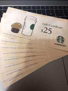 Starbucks Coupon $25*8張 (valued $200)