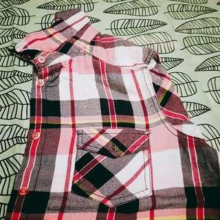 🚚 紅黑格子長板襯衫