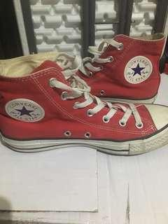 converse high cut chuck taylor( red)