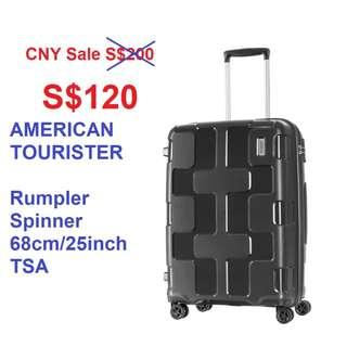 $120 New in box, AMERICAN TOURISTER Rumpler Spinner 68cm/25inch TSA Charcoal Grey luggage double wheels FREE Delivery