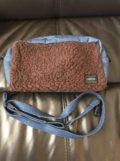PORTER Denim 毛毛 側揹袋