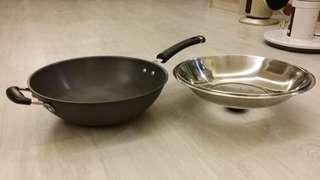 Large Wok Frying Pan with Stainless Steel Cover 33cm