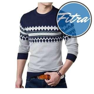Sweater Pria Rajut Michael Navy
