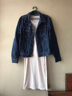 Guess Denim Jacket + white dress