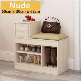 🚚 Shoe Rack Bench with cabinet storage PU Seat stool