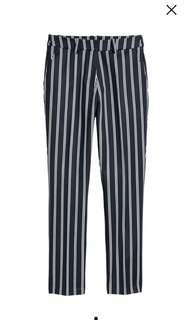 H&M Navy Striped Cigarette Trousers