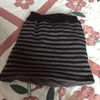Almost New Grey and Black Striped Reversible Knit Neck Warmer