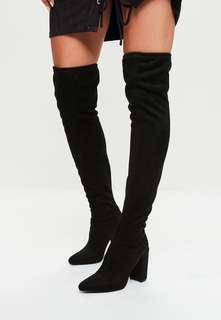 🚚 Missguided Black Thigh High Faux Suede Boots with Heels