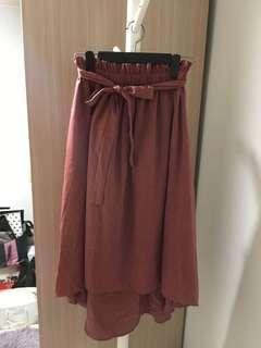 (100% new) 🇰🇷韓國製 香檳紅色前短後長橡筋腰配腰帶絲質半裙 💃🏻