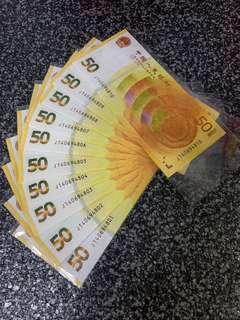 中国人民币70周年50元黄金钞标十连号