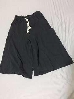 🚚 黑色七分寬褲
