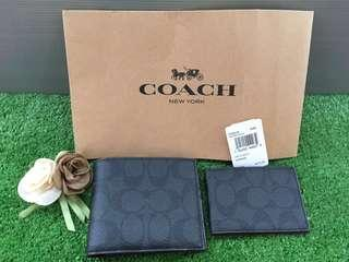 Coach Signature Black/Oxblood Wallet Original 💯