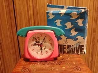 Vintage Windup Wind-up Alarm Clock White Dove NOS
