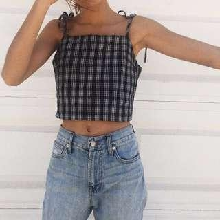 Brandy melville dena gingham/ plaid tie tank crop top