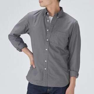 MUJI無印良品深灰色牛津布素面扣領長袖襯衫M