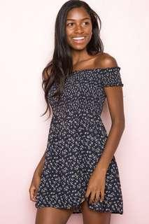 Brandy melville floral caley off shoulder navy dress