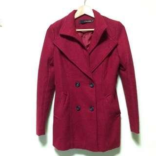 紅色雙排扣外套