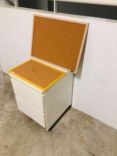 Corkboard and ikea chest of drawers