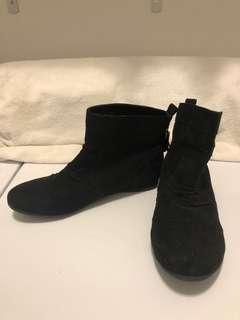 Black Suede Ankle Boots with Gold Tassels