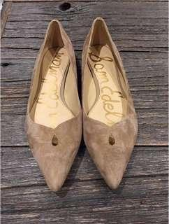 🆕 Sam Edelman 'ruby' pointed toe flats with keyhole detail - size 7 - nude colour, suede