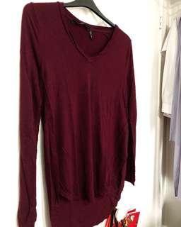 Burgundy Long Sleeve w/ Slit (size M-XL)