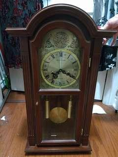 Vintage Waltham Grandfather Wall Clock Wood Westminster Chime Tempus Fugit