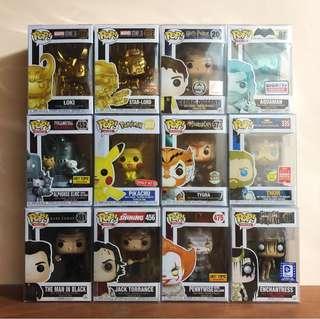 Pop! Funko (Marvel, DC, Stephen King, Full Metal Alchemist, Pokemon, etc.)